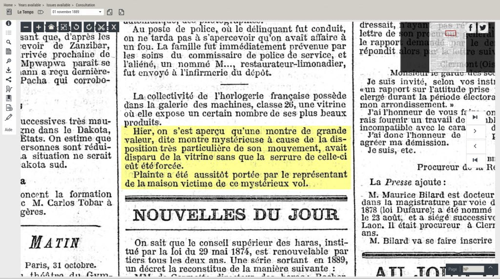 Clipping from the newspaper Le Temps, number 10405 about the mysterious loss of the hour